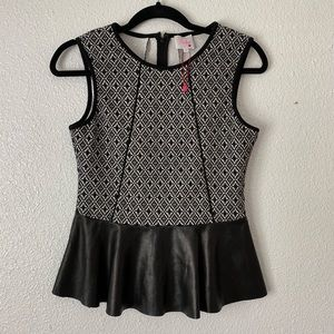 NWOT Parker Knit and Leather Peplum Tank